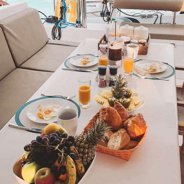 Breakfast set up on Live Onboard Experience Mauritius by Sea Spirit Cruises