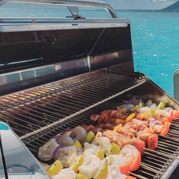 Brochettes on Grill by Sea Spirit Cruises